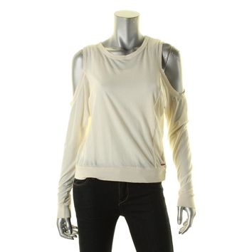 Philanthropy Womens Cold Shoulder Distressed Casual Top