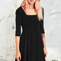 Cooperative Pin Dot Pleated Flippy Dress in Black - Urban Outfitters