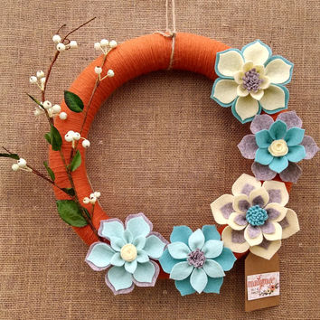 Orange and robin's egg blue yarn wreath, yarn and felt flower wreath, floral wreath, large 14 inch size, ready to ship