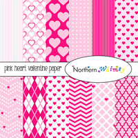 Pink Hearts Digital Paper Pack – pink scrapbook papers in a Valentine's Day theme – Valentine digital backgrounds - instant download – CU OK