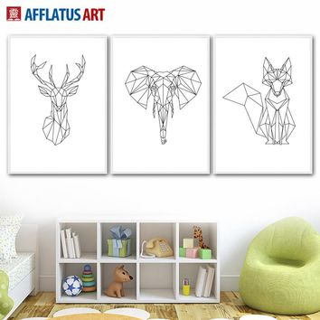 Geometric Elephant Deer Fox Nordic Poster Wall Art Canvas Painting Posters And Prints Wall Pictures For Living Room Kids Decor