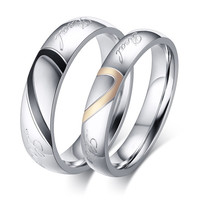 Couple Rings for Men Women Hot Sale Simple Titanium Steel Heart Shape Wedding Finger Ring Romantic Jewelry