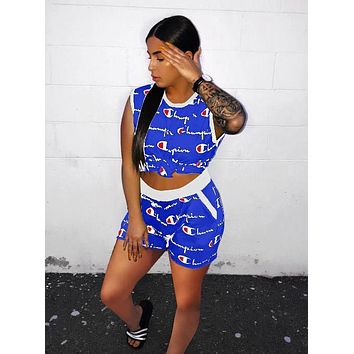 Champion Summer Woman Casual Print Sleeveless Vest Top Shorts Set Two Piece