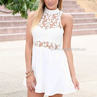 LET LOVE RULE DRESS , DRESSES, TOPS, BOTTOMS, JACKETS & JUMPERS, ACCESSORIES, 50% OFF SALE, PRE ORDER, NEW ARRIVALS, PLAYSUIT, COLOUR, GIFT VOUCHER,,White,Print,LACE,CUT OUT,SLEEVELESS,MINI Australia, Queensland, Brisbane