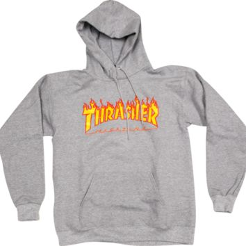 Thrasher Flame Logo Pullover Hoodie - Grey