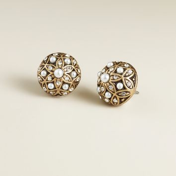 Gold and Pearl Round Stud Earrings - World Market