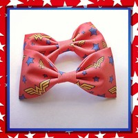 Red Wonder Woman logo fabric bow or bow tie