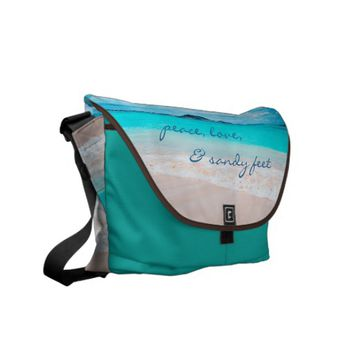 """Sandy feet"" turquoise beach photo messenger bag"