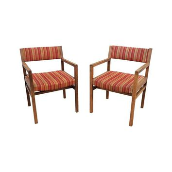 Pre-owned 1960s Modern Jens Risom Style Arm Chairs - A Pair