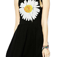 ROMWE Daisy Print Sleeveless Slim Black Dress