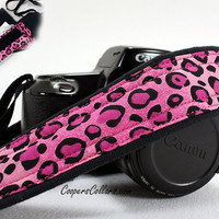 Pink Leopard, Camera Strap with Pocket, Hot Pink,  dSLR, SLR