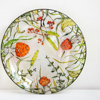 Glass Dinner Plate - Fall Berries and Shrooms Collection - made to order