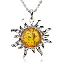Fashion Hot Baltic Faux Amber Honey Sun Lucky Flossy Tibet Silver Pendant Necklace Jewelry L00301