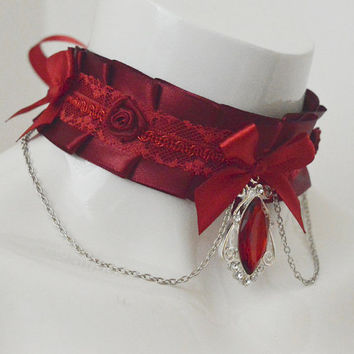Gothic choker - Sexy Antoinette - vampire burgundy red pleated choker with blood drop pendant - lolita kittenplay ddlg princess collar