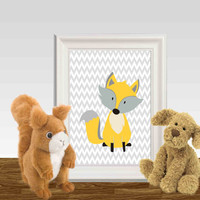 Fox wall art print Yellow nursery decor printable Gray chevron Little Boys or girls bedroom wall art Woodland animal  5x7 8x10 DOWNLOAD