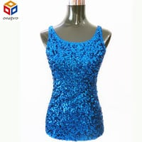 New Women Shimmer Glam Sequin Embellished Sparkle Tank Top Sexy Solid Vest Tops Free Shipping