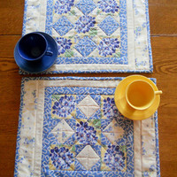 Placemats Set of 2 Blue Yellow Kitchen Shabby Chic