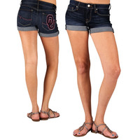 Oklahoma Sooners Ladies Denim Roll Up Short