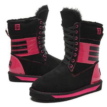LFMON UGG 5088 Tall Lace-Up Piano Women Fashion Casual Wool Winter Snow Boots Black-Red