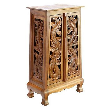 EXP Decor Chinese Dragons Storage End Table (Brown)