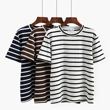 Black White Striped Women's Cotton Solid T Shirt