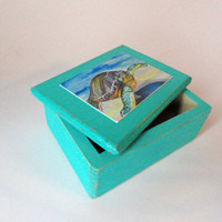 Sea Turtle Jewelry Box , Beach Jewelry Box , Wooden Jewelry Box , Ocean Box , Animal Jewelry Box