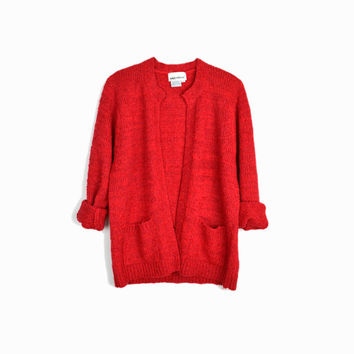 Vintage Red Boucle Sweater / Boucle Cardigan Sweater / Red Valentine's Day Sweater - women's medium