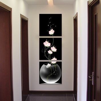 3 pieces Frameless Vase with Flowers Canvas Material Porch Corridor Vertical Version Home Decoration Wall Painting decoration