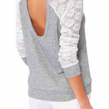 Gray Long Sleeve Cut Out Backless T-Shirt
