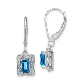 925 Sterling Silver Rhodium-plated Diamond and Light Blue Topaz Earrings