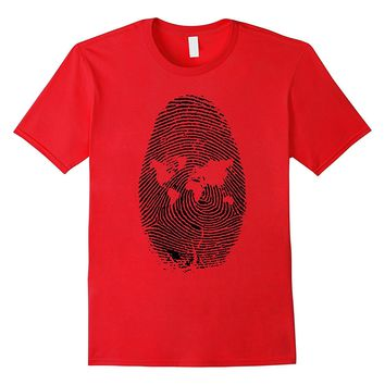 World Map Finger Print T-Shirt Abstract ID Tee