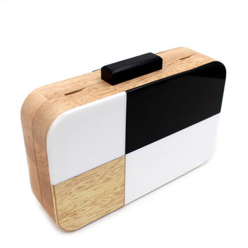 Checkmate Wooden Box Clutch Cross-body (Limited Quantity)