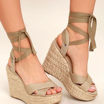 Esme Natural Lace-Up Espadrille Wedges