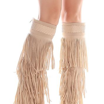 NUDE NEW BUCK POINTED TOE FRINGE DESIGN KNEE BOOTS