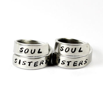 Soul Sisters Pair Rings, Sister Match Rings, Best Friends BFF Ring, Love And Friendship Jewelry, Sisters, Besties Twist  Rings