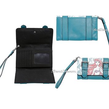 Licensed cool Disney Ariel The Little Mermaid Sketch Double Buckle Trifold Wristlet Wallet NEW