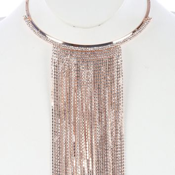 Delicate Formal Long Fringe Rhinestone Choker Necklace