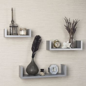 Danya B Laminated Silver Grey Floating 'U' Shelves (Set of 3)