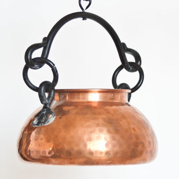 Vintage Solid Copper Hanging Planter Cauldron with Iron Hook, Copper Bucket Vase Container, Rustic Home Decor