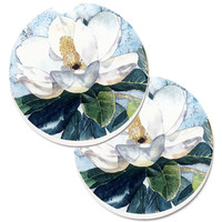 Flower - Magnolia Set of 2 Cup Holder Car Coasters 8003CARC