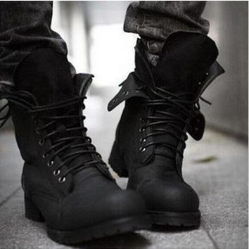 Men's Black Retro Combat Nubuck Leather Boots