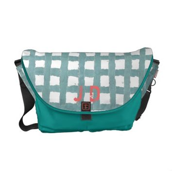 Uneven Turquoise Blue Gingham Plaid Messenger Bag