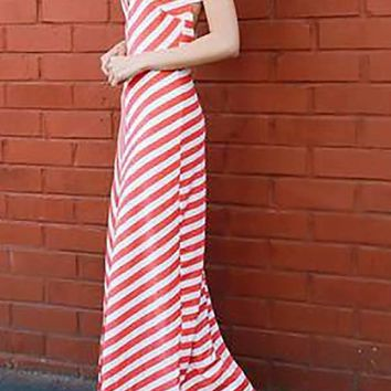Coral White Chevron Maxi Dress
