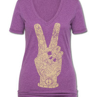 NEW! Peace Fingers Women's V-Neck T-Shirt: Soul-Flower Online Store