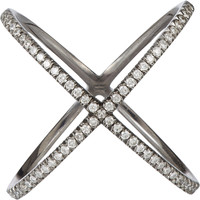 "Diamond & Blackened White Gold ""X"" Ring"