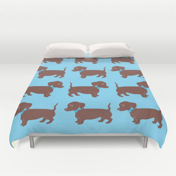 Brown Dachshund with Blue Bow Pattern Art Duvet Cover by Artist Abigail