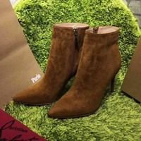 Best Online Sale Christian Louboutin CL Top Suede Ankle Boot Brown