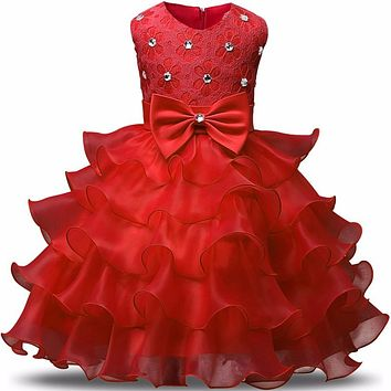 Girl Dress Kids Christening Events Party Wear Dresses For Girls Baby Red Clothes Children Clothing Girl 3 4 5 6 7 8 Year