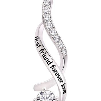 Jewelry Sterling Silver Best friend forever love Cubic Zirconia Pendant Necklace