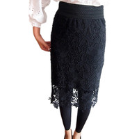Women's Crochet Lace Below Knee Pencil Skirt